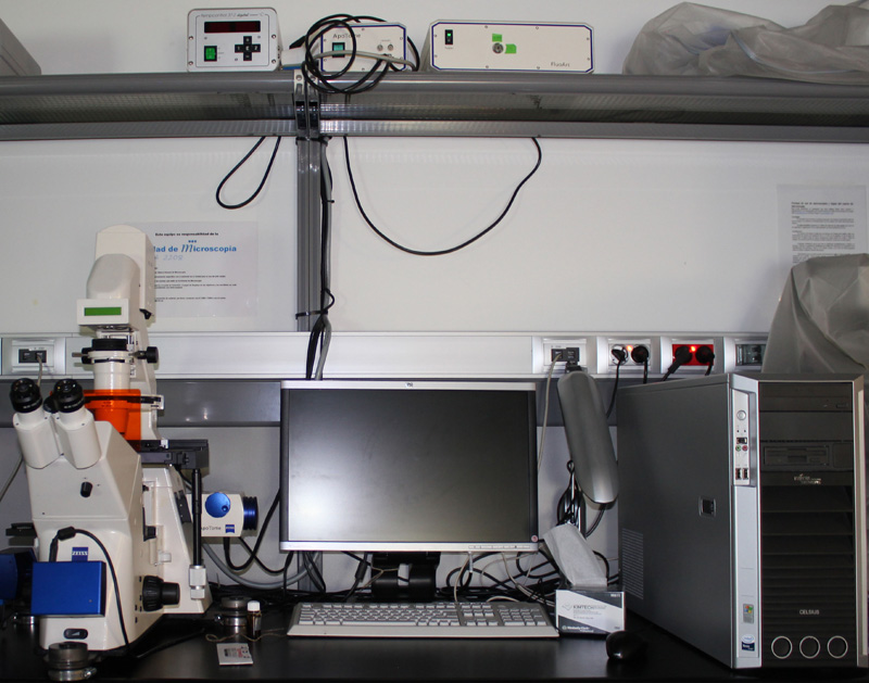 The Zeiss 200M microscope, with apotome, computer working station and illumination source