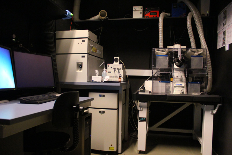 Sistema confocal acoplado a microscopio invertido Nikon A1R, con cámara de incubación, caja de láseres y ordenador de trabajo