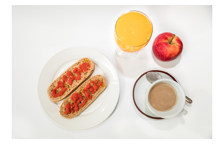The best way to start the day. A 'high-energy' breakfast could consist of a cup of coffee, milk or yogurt, fruit, and wholemeal bread with tomato and olive oil