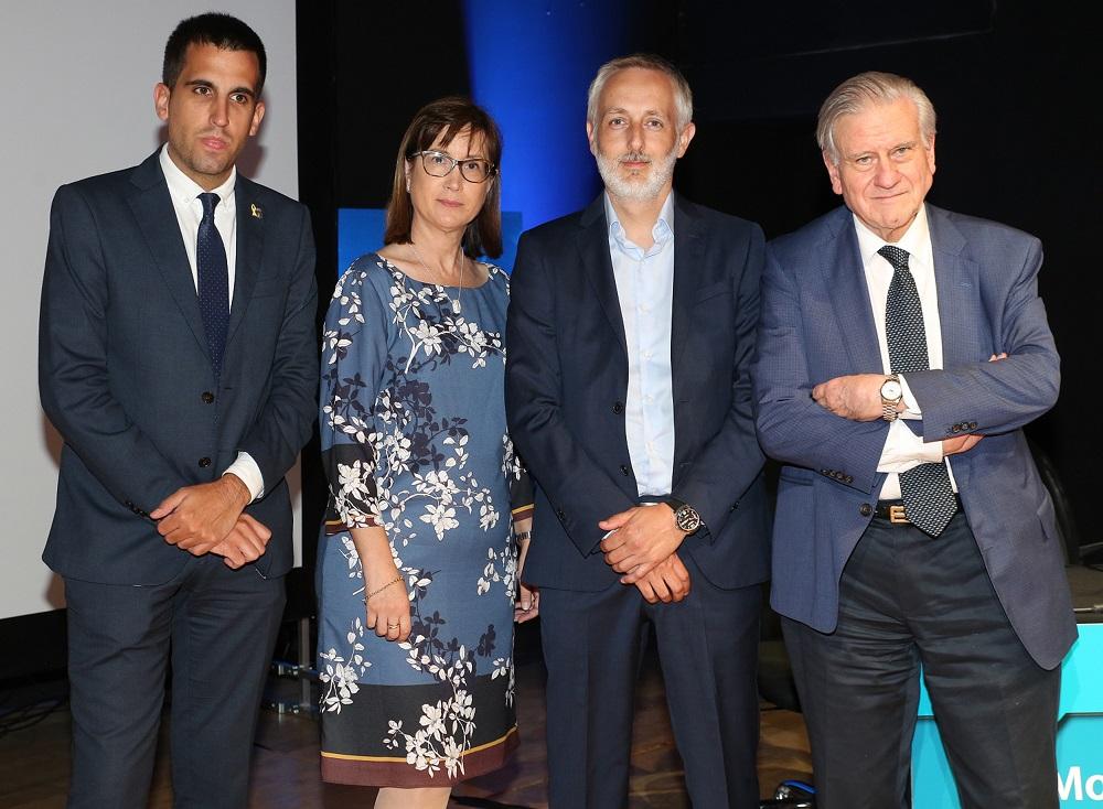 De izquierda a derecha: Ferran Estruch, Alcalde de Cardona; Maria José García Celma, Directora Académica del CUIMPB-Centre Ernest Lluch; Óscar Pérez Albet, Chief Marketing Officer de Ferrer, y Valentín Fuster, Director General del CNIC.