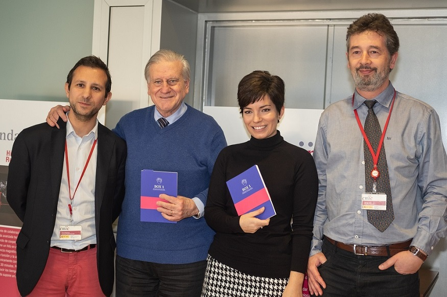 David Filgueiras, Valentín Fuster, Paula Elena Ramos y Alberto Sanz, Gerente del CNIC.