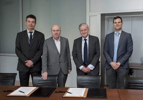 Alberto Sanz, Gerente del CNIC; Dr. Jordi Camí, director de la Fundación Pasqual Maragall; Dr. Valentín Fuster, director general del CNIC, y Dr. Borja Ibáñez, Director de Investigación Clínica del CNIC.