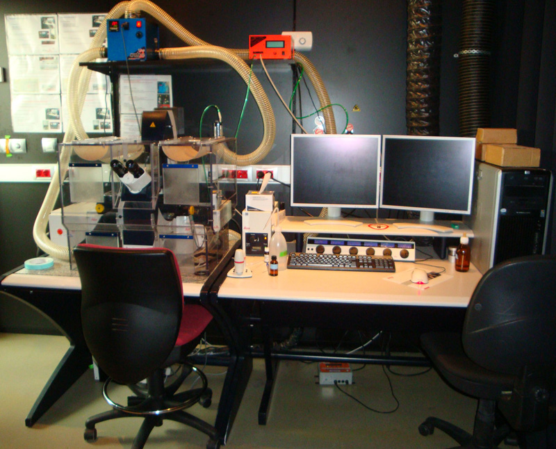 Leica confocal microscope with temperature and CO2 chamber and working desk